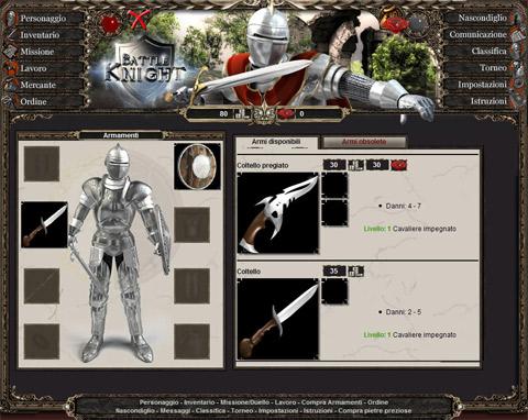 Schermata del gioco on line Battle Knight