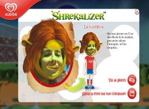 Shrekalizer e i mini giochi del sito Algida per Shrek forever after.