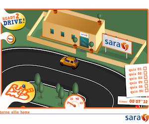 Gioco sulla guida sicura promosso da Sara Assicurazioni.