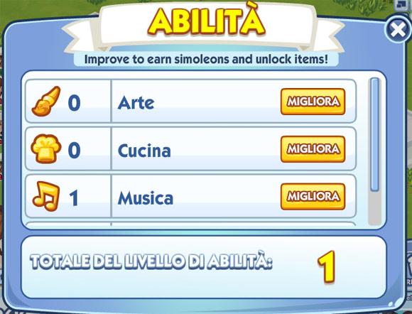 Le abilità in The Sims Social